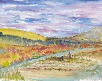 Original Watercolor Landscape Ireland