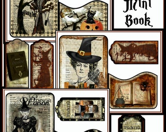 Haunted Dictionary Altered Art Witches Mini Book Project INSTANT DOWNLOAD Gothic Halloween Digital Printable