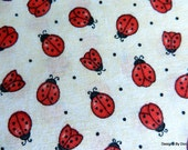 One Yard Cut of Quilt Fabric, Cute Red Ladybugs and Black Pin Dots on a Blotchy Cream Background, Sewing and Quilting Supplies