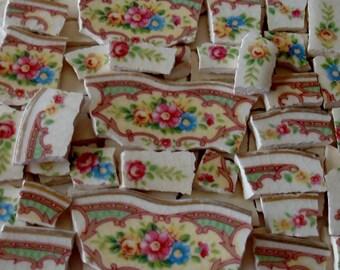 Craft Supplies - Mosaic Tiles - Flower Garden - Pink - Dk Pink - Roses -Yellow - Blue Flowers - Vintage -Broken Plate -Tessera