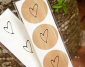 Medium Heart Sticker Seals - Easy Peel Wedding Favor Bag Accessory - 25 Stickers