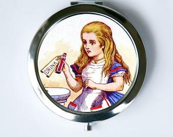 Alice in Wonderland Compact MIRROR Drink Me victorian fairy tal