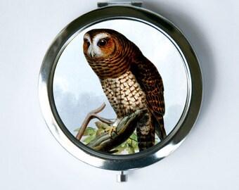 Owl in tree necklace Compact MIRROR Pocket Mirror