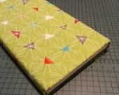 Green Mod-Century triangle burst fabric