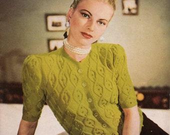 Ladies Cardigan Vintage Short Sleeved Sweater Knitting Pattern pdf  1947
