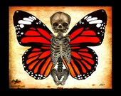 "Print 8x10"" - Butterfly - Fetal Skull Skeleton Butterflies Dark Art Lowbrow Art Wings Surreal Fantasy Gothic Pop Art Bones Taxidermy"