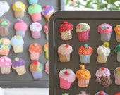 Trio of Yummy Felt Cup Cake Magnets - Party Favors - Choose Three - ANY color (3) Novelty, Folk Art, OOAK