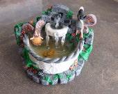 Whimsical terrarium garden fairy Fountain fish pond handmade Miniature Spring Celebrations PR5540r