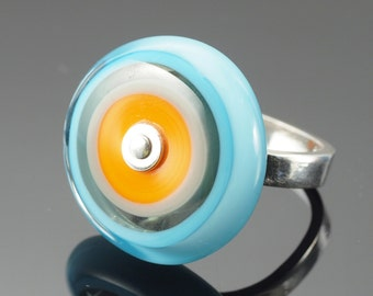 Large Circle Ring in Orange, Turquoise, and Gray