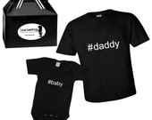 Daddy and Baby matching outfits gift set - Gift Ready black onesie and Mens T-shirt #baby #daddy