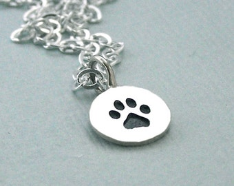 Tiny Paw Print Charm Necklace - Sterling Silver - Dog Lover Gift