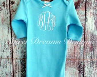 Girls monogrammed personalized Baby Gown - Sizes  0-3m & 3-6m - Turquoise