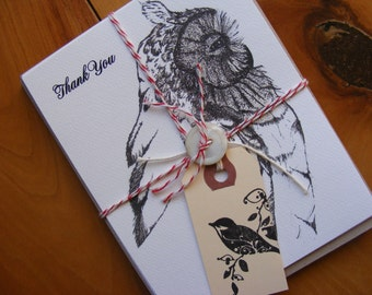 Wise Old Owl  Set Of 8 Postcards And Matching Envelopes, Pen And Ink, Bird, Nature, Paper Products, Cards, Stationery, Gift
