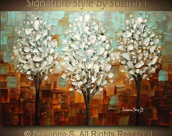 ORIGINAL 3 Trees Abstract Contemporary Oil Painting Thick Texture Gallery Fine Art by Susanna Ready to Hang 36x24