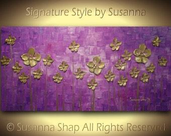 ORIGINAL Contemporary Art Violet Purple Gold Flowers Landscape Painting Thick Texture Palette Knife Painting by Susanna 48x24