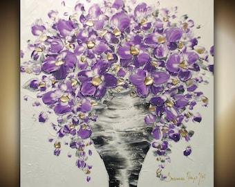 ORIGINAL Textured Painting Gold Purple Flowers Vase Bouquet Oil Painting Thick Impasto Contemporary Art by Susanna