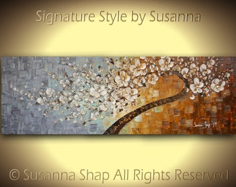 72x24 ORIGINAL Huge Tree Painting - Large Textured White Cherry Blossom Tree Abstract Oil Painting Gallery Fine Art by Susanna Made2Order