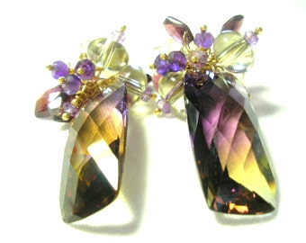 2 MONTHS SALE 20% CODE:SALE2016 Purple and Yellow Ametrine Faceted Cushion Checkerboard and diamonds Gold Earrings