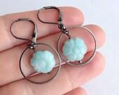 Everyday Earrings Stone Hoop Light Blue Amazonite