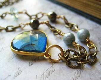 Labradorite Necklace, Natural Labradorite, Aquamarine Gemstone, Natural Pyrite, Blue Picasso Beads, Brass Chain, candies64, Womens  jewelr