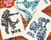 Bike Surf Skate Anatomy 3 Pack Sale Extreme Sport Series Silk Screen Art Print Poster - Etsy