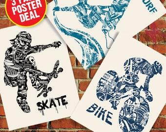 Bike Surf Skate Anatomy 3 Pack Sale Extreme Sport Series Silk Screen Art Print Poster - Etsy