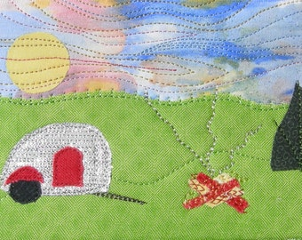 Fabric Postcard, Teardrop Trailer Handmade Fabric Postcard, Quilted Greeting Card, Campfire Postcard Art,Landscape Art,Can be Personalized