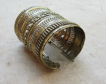 Vintage Kuchi Cuff Vintage Handmade Alpaca Bracelet, Tribal Infusion