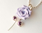 Lavender Polymer Clay Rose with Purple Freshwater Pearls on Silver Wire