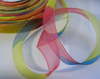 "Organza Ribbon SALE (R22) Bright Stripes  7/8"" wide - 3 yards Sheer Ribbon for Dreamcatcher Crafts DIY Wedding Streamers Party Decor"