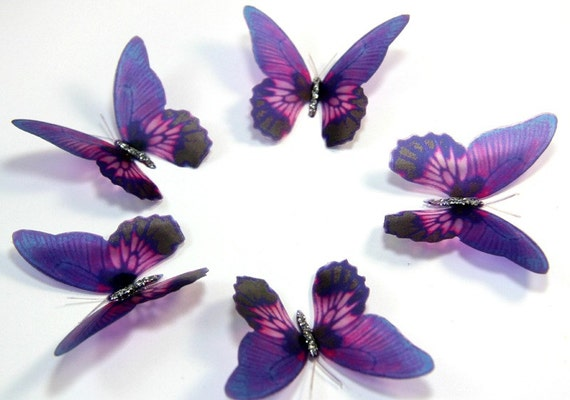 items similar to 50 violet stick on butterflies wedding cake toppers 3d wall art butterfly. Black Bedroom Furniture Sets. Home Design Ideas