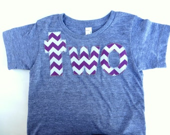 Purple two 2nd Birthday Shirt for Boy or Girl two Chevron Number Birthday T Shirt  triblend grey Birthday Shirt