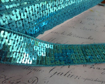 One Inch Wide Aqua Blue Sequin Ribbon Trim