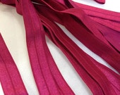 Fold Over ELASTIC - 5/8 Inch X 1 Yard - Wine Red Solid
