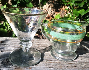 Vintage 40s and 50s Glass Lot  Barware Space Age Cocktail Glass Gold Trim Pitcher Green Orange. Epsteam