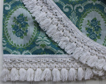 Vintage Bedspread with Fringe - Woven Cotton Blue Green - Full Spread - Queen Coverlet - Unused - New Cameos