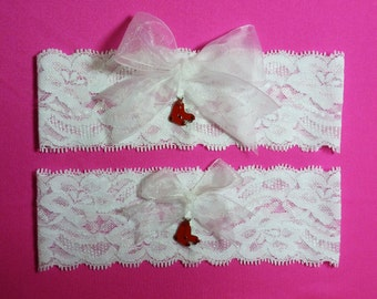Boston Red Sox Wedding Garter Set    White Lace Handmade with charms  Keepsake and Toss