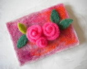 ACEO - Pink Roses  - Felted ACEO