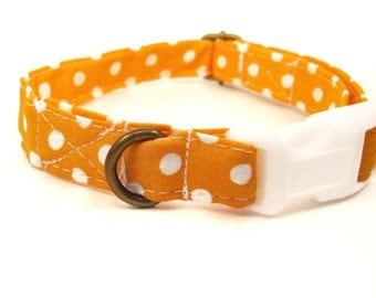 Tangerine Dream - Organic Cotton CAT Collar Breakaway Safety Orange White Polka Dots - All Antique Brass Hardware