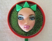 Queen stick -  upcycled doll assemblage