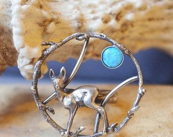 Blue Moon Snow Deer Ring