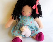 Waldorf style - 12 inch Roses Doll Dress for your natural Doll