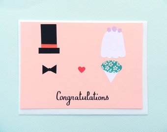 Congratulations on your wedding - Minimalisme nuptiale/Top Hot and Veil - papercut collage card by Pauline Rousseau