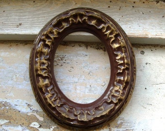 Vintage Chocolate Plaster Type Frame with Gold Accents