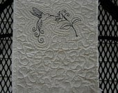 Blank Fabric art journal. Humming Bird quilted cover.