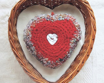 Infinite Love Gift - Heart Shaped Silk Plush with Heartfelt Message - Deluxe Valentine's Day Gift - Embellished with Mother of Pearl Button