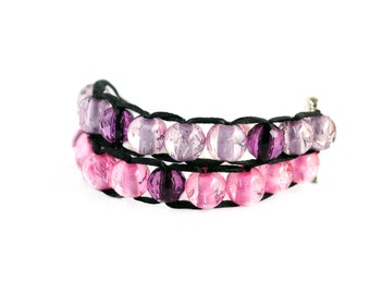Ablet Knitting Abacus - Row Counting Bracelet - Pink and Purple with Gold Clasp