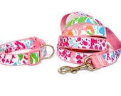 Dog Collar and Leash Set Made from Lilly Pulitzer 2014 Lets Cha Cha Fabric Size: Your Choice