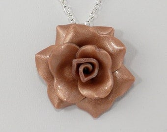 Light Copper Rose Pendant - Simple Rose Necklace - Copper Rose Necklace - Handmade Wedding Jewelry - Clay Rose Pendant - #314 - Ready toShip