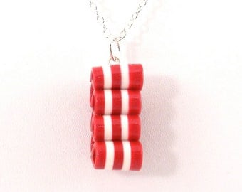 Ribbon Candy Pendant - Christmas Necklace - Red and White Striped Necklace - Holiday Jewelry - Handmade, Polymer Clay - Ready to Ship #119